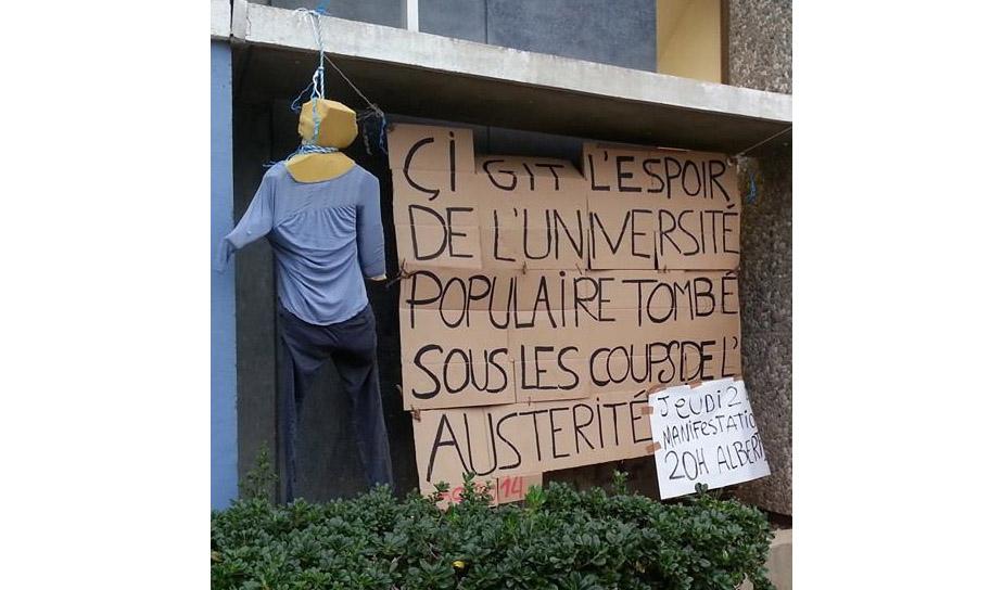 """""""Hier ruht die Hoffnung der freien Universität"""" – in Montpellier wehren sich Studenten gegen Sparpläne. Foto: Mobilisation UM3."""
