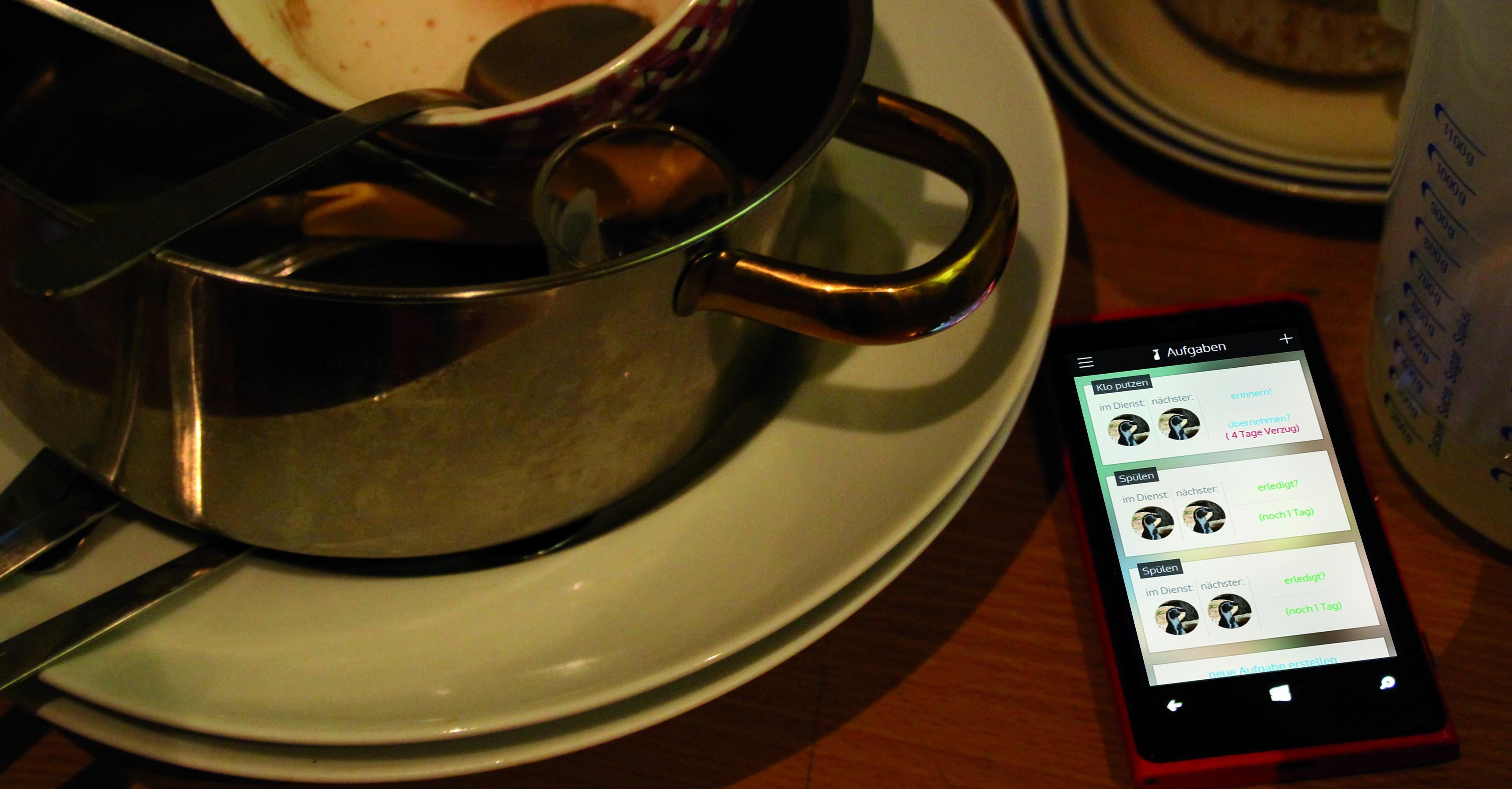 Die neue WG-App erinnert an das Spülen, um WG-Streit vorzubeugen. Foto: mak