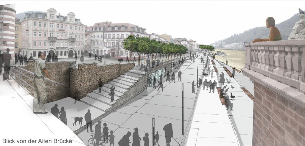 """So soll er aussehen, der Blick von der Alten Brücke - wenn die """"Stadt am Fluss"""" tatsächlich Wirklichkeit wird. Bild: Stadt Heidelberg"""
