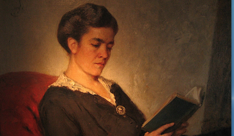 """Kann eine App dabei helfen, schneller zu lesen? Ernst Hildebrand, """"Dame beim Lesen"""", 1910. Bild: Wikimedia commons/ Familienbesitz"""