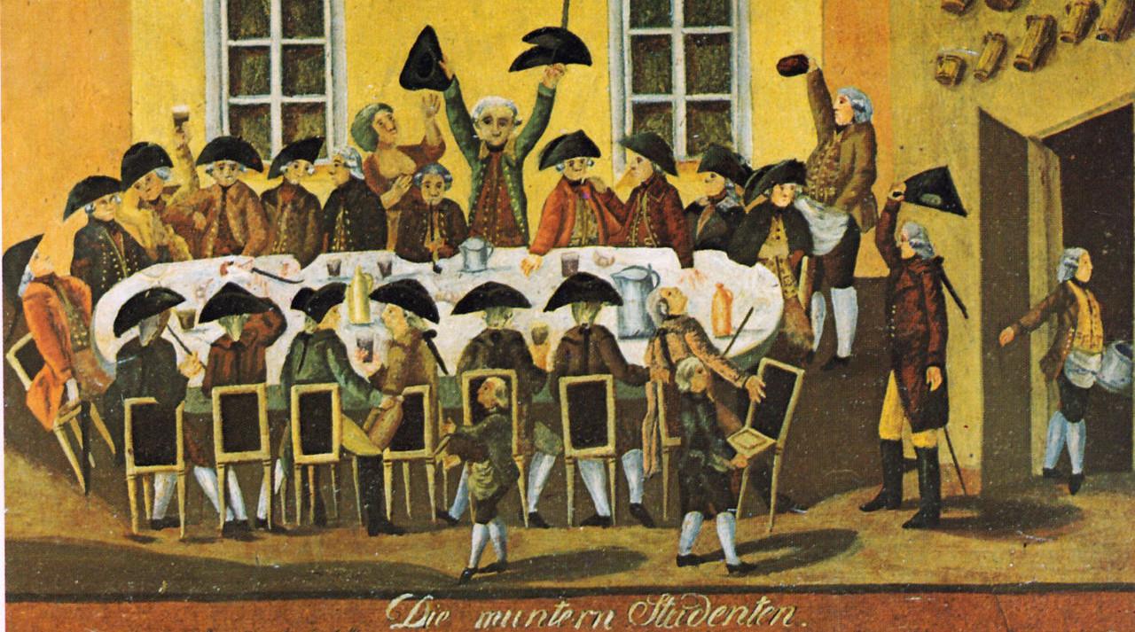Die Lebensbedingungen von Studenten können sehr unterschiedlich sein. Bild: Wikimedia commons/ Tmtriumph (Das Bild zeigt eine studentische Kneipgesellschaft in Wien im Jahre 1788.)