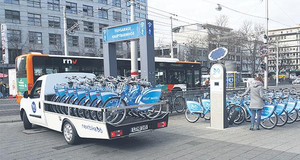 Ein Service-Dienst sorgt täglich für die gleichmäßige Verteilung der Räder. Bild: nextbike