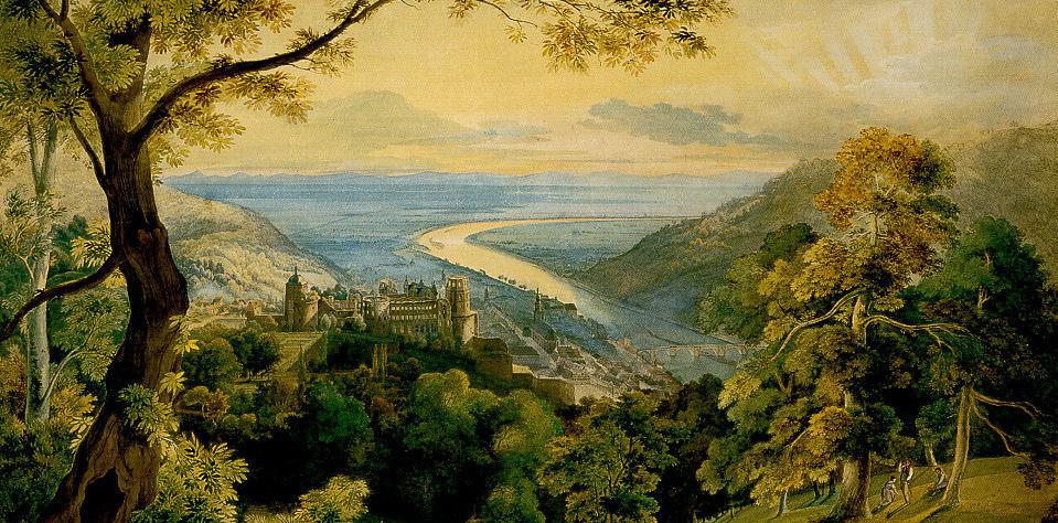 """""""Blick auf das Heidelberger Schloss"""", Carl Rottmann, 1815. Foto: Wikimedia commons."""
