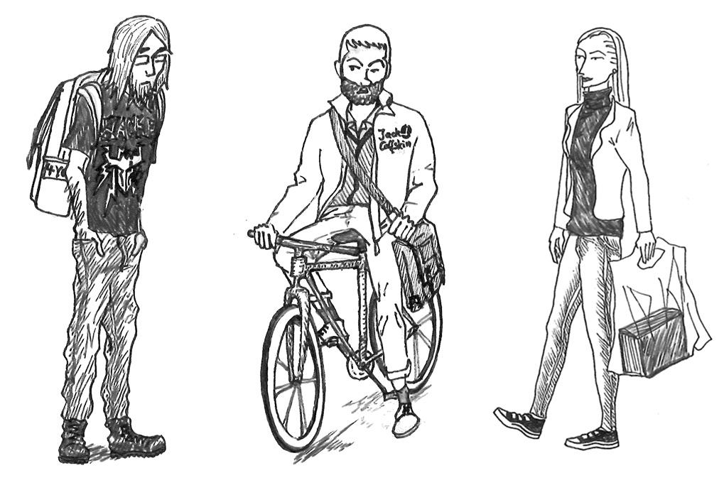INFler mit 4-YOU-Rucksack und Schönfelder inklusive Juristin, Bergheim-Hipster. Bild: jat