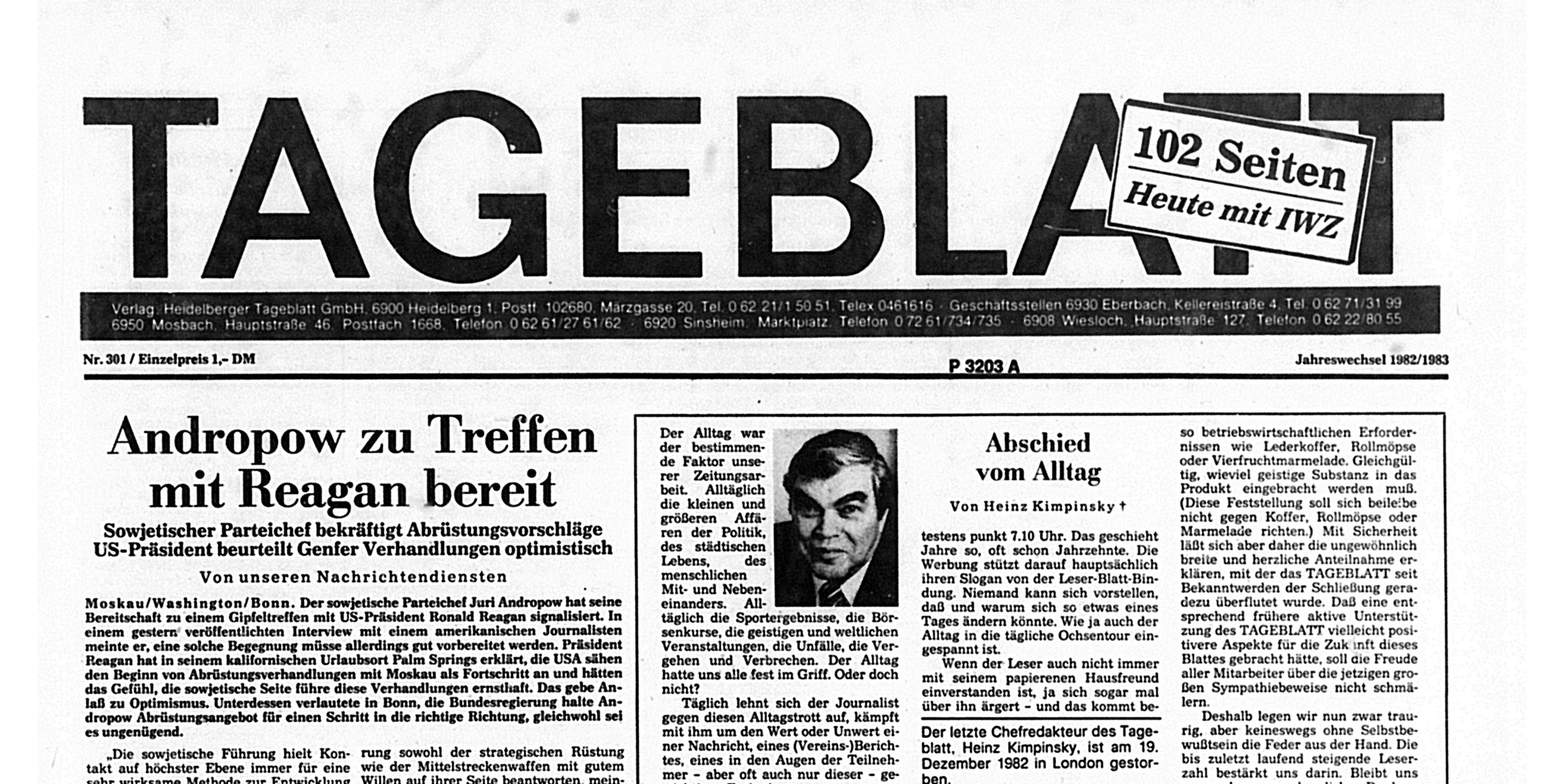 Die letzte Titelseite des Heidelberger Tageblatts vom 31. Dezember 1982. Foto: Universitätsbibliothek Heidelberg