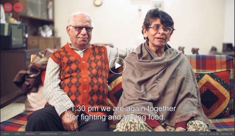 Ein indisches Ehepaar beschreibt seine tägliche Routine. Foto: uni-heidelberg.de/elderscapes