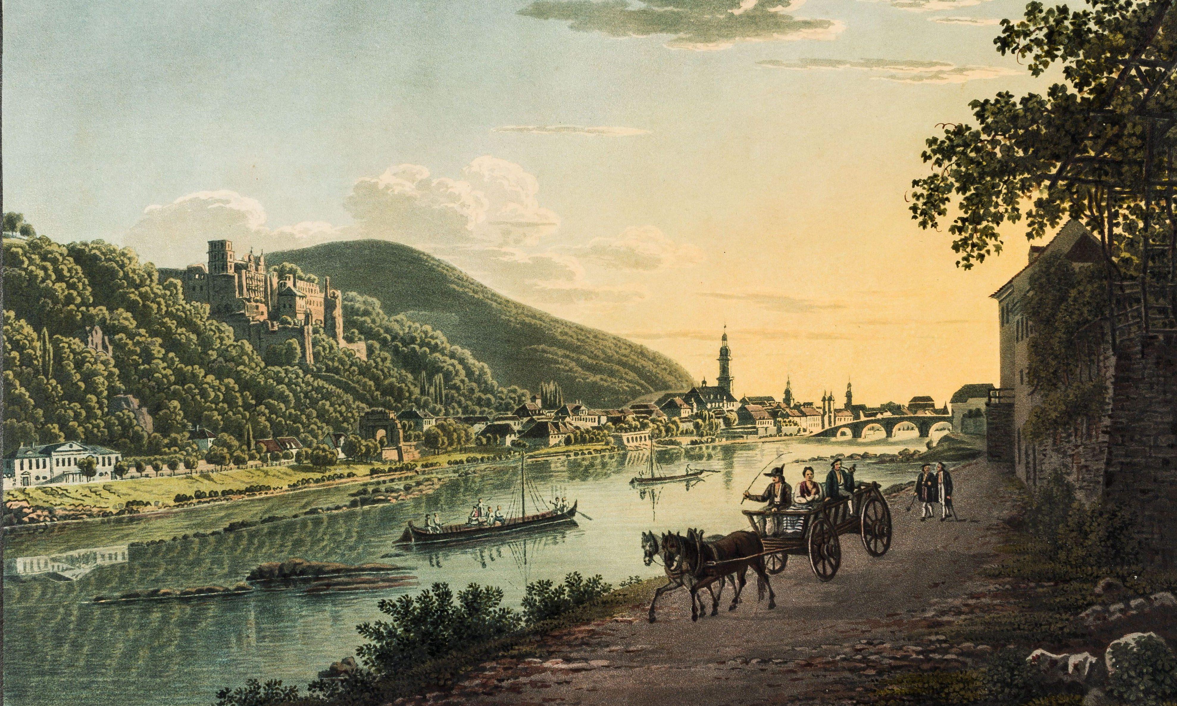 Malerische Reise nach Heidelberg. Johann Hürlimann, um 1822 Aquatinta koloriert. zur Verfügung gestellt von: Kupfälzisches Museum Heidelberg.