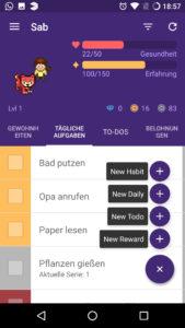 Oben die Punkte und der Avatar, unten die Aufgaben. Quelle: Screenshot Habitica