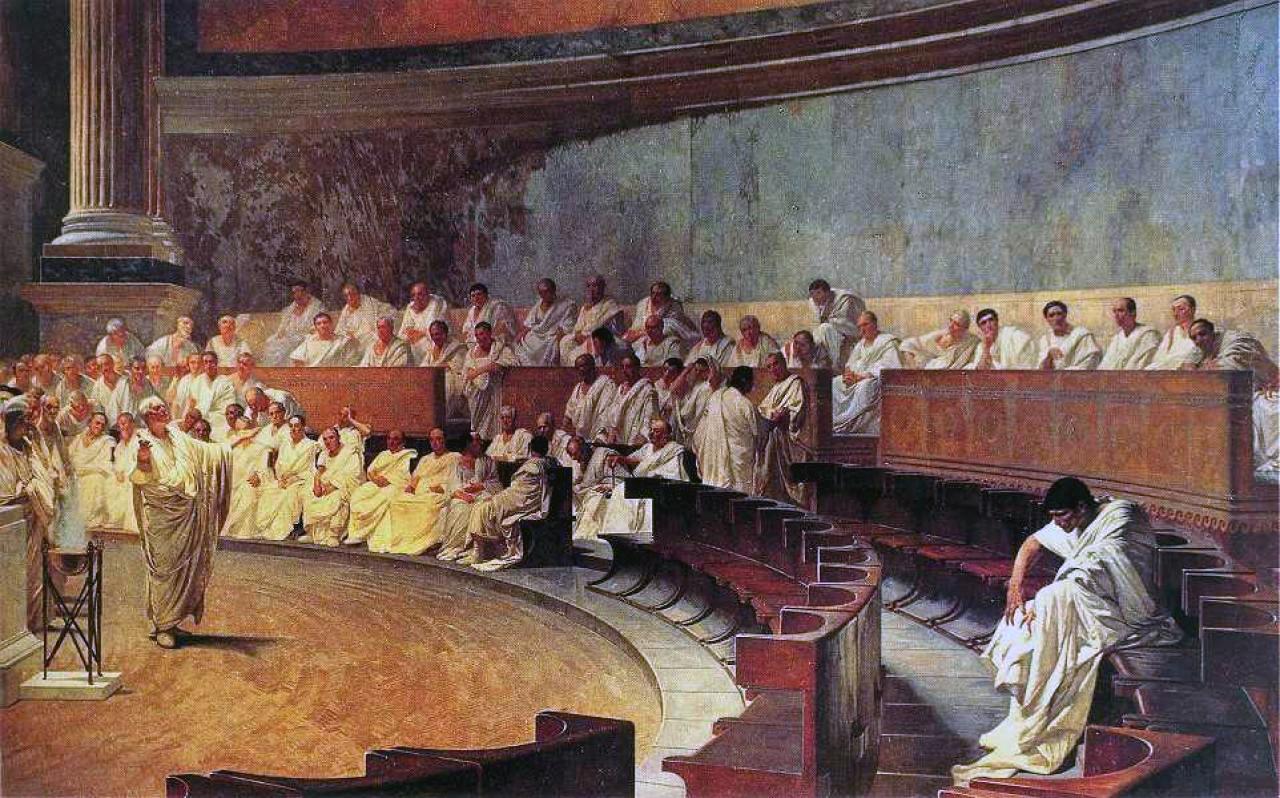 Wie im alten Rom: die wichtigen Entscheidungen trifft der Senat.  Bild: Cesare Maccari / Wikimedia Commons (Public Domain)