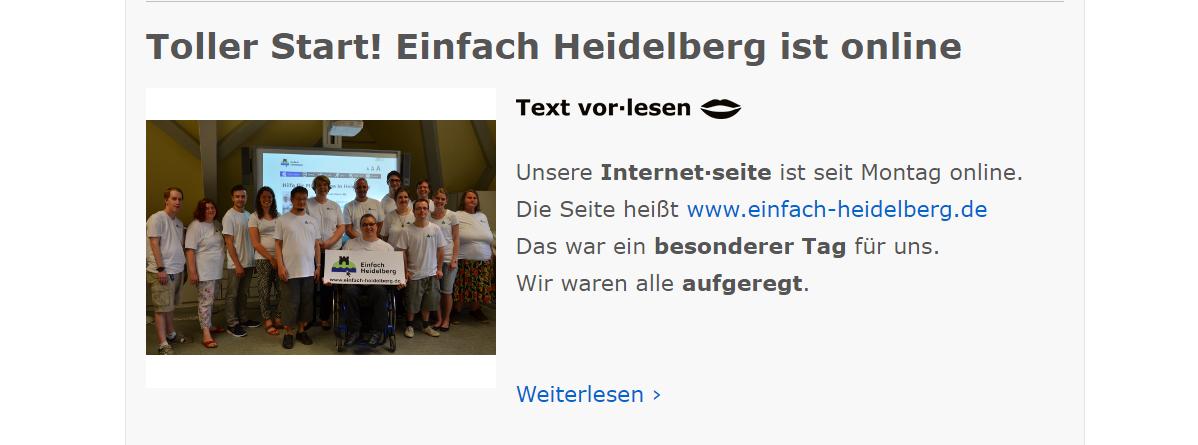 Der erste Eintrag: Screenshot von www.einfach-heidelberg.de