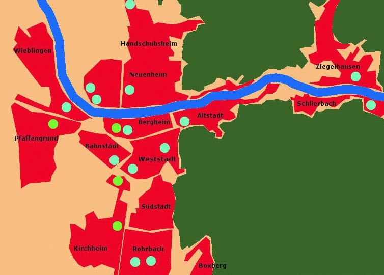 Standorte der vorhandenen (grün) und geplanten (blau) Unterkünfte in den verschiedenen Stadtteilen Heidelbergs. Grafik: Monika Witzenberger