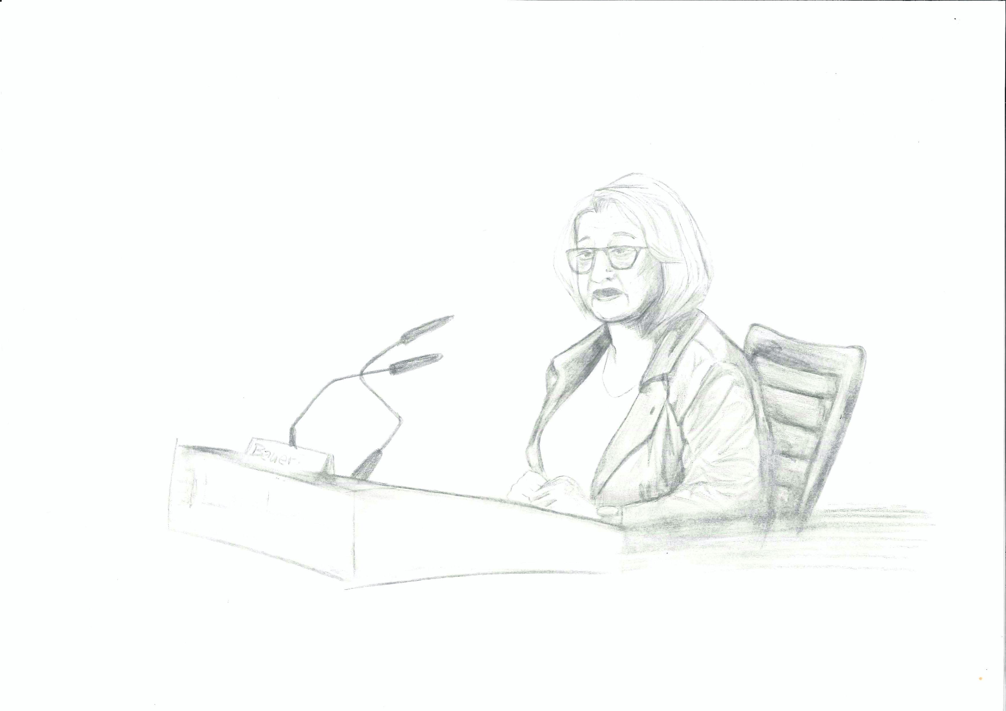 Theresia Bauer musste sich vor dem Untersuchungsausschuss erklären: Zeichnung Bérenièce Burdack