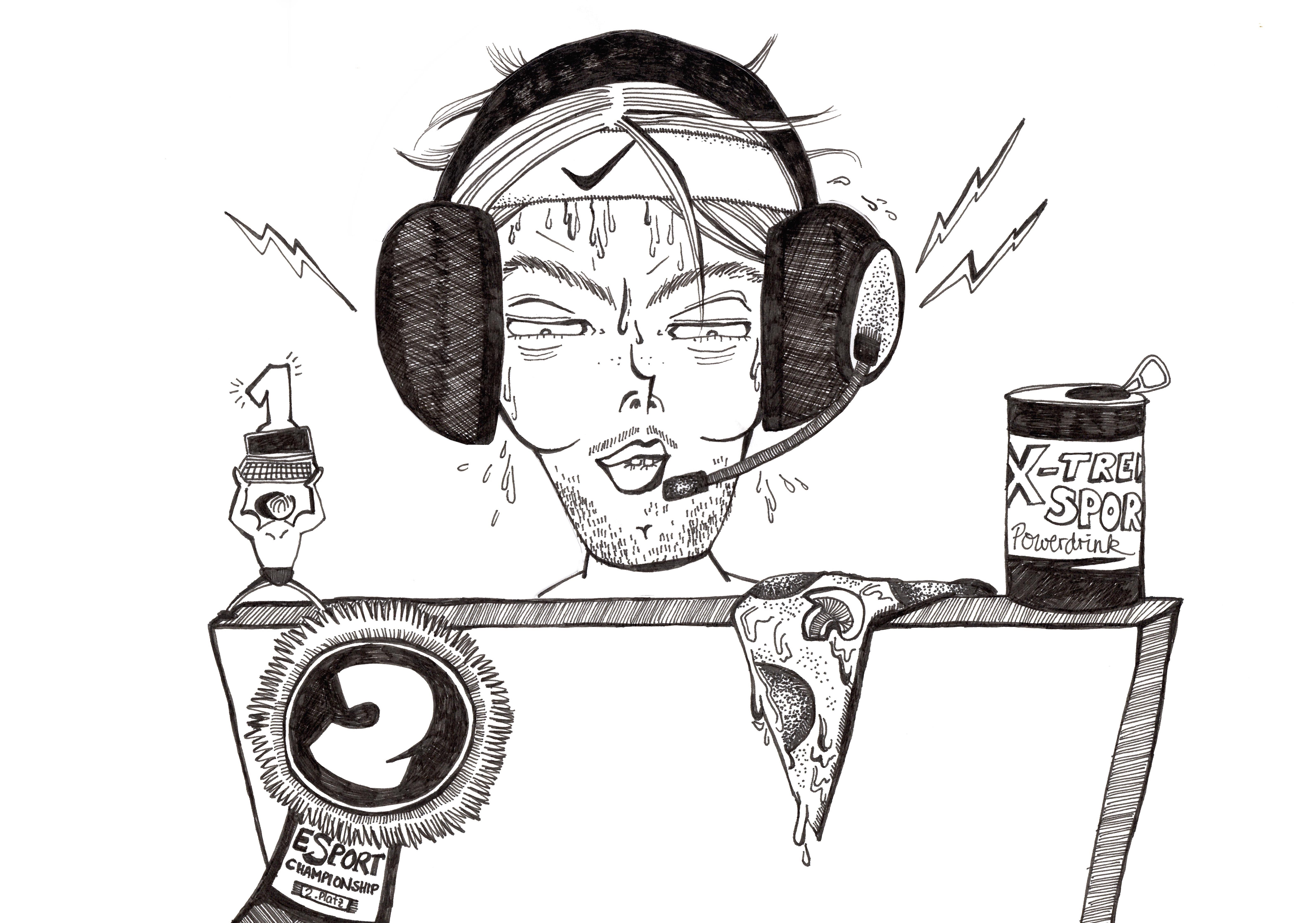 Zocken bis zum Umfallen: Geht das als Sport durch? Zeichnung: Anaïs Kaluza