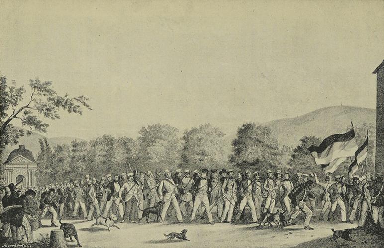 """Auszug der Studenten nach Neustadt am 17. Juni 1848 als Protest gegen das Verbot des """"Demokratischen Vereins"""". Bild: gemeinfrei"""