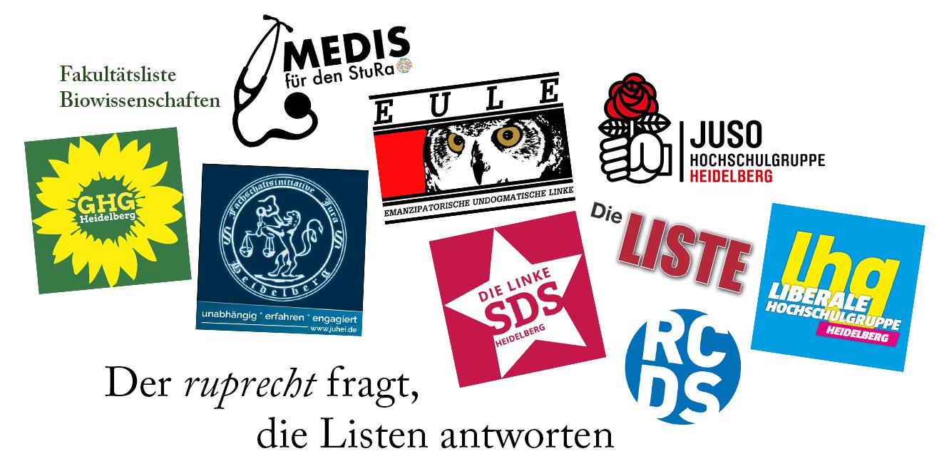 Zu StuRa Wahl 2019 treten zehn verschiedene Listen an (Stand: 13.05.2019)