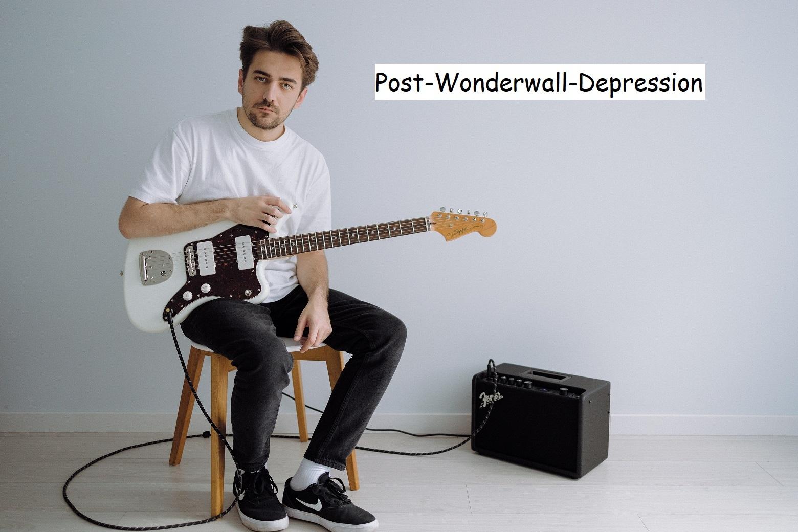 "Klassischer Oasis ""Wonderwall"" Gitarrist. Foto: unsplash. Bearbeitung: Hannes Huß."